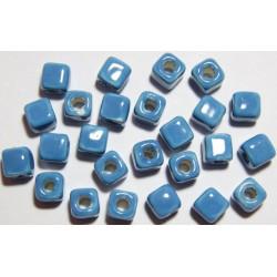 Cuentas Ceramica Cubo Turquesa