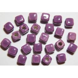 Cuentas Ceramica Cubo Lila