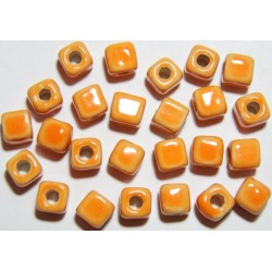 Cuentas Ceramica Cubo Naranja