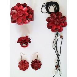 Set Accesorio Cuero Rojo